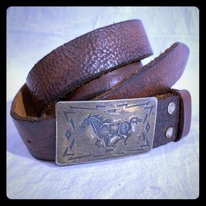 70's CHAMBERS BELT CO Horse Men's Buckle Size 38